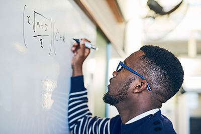 Man, Teacher, Writing on White Board, Math