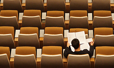 sitting, auditorium, reading