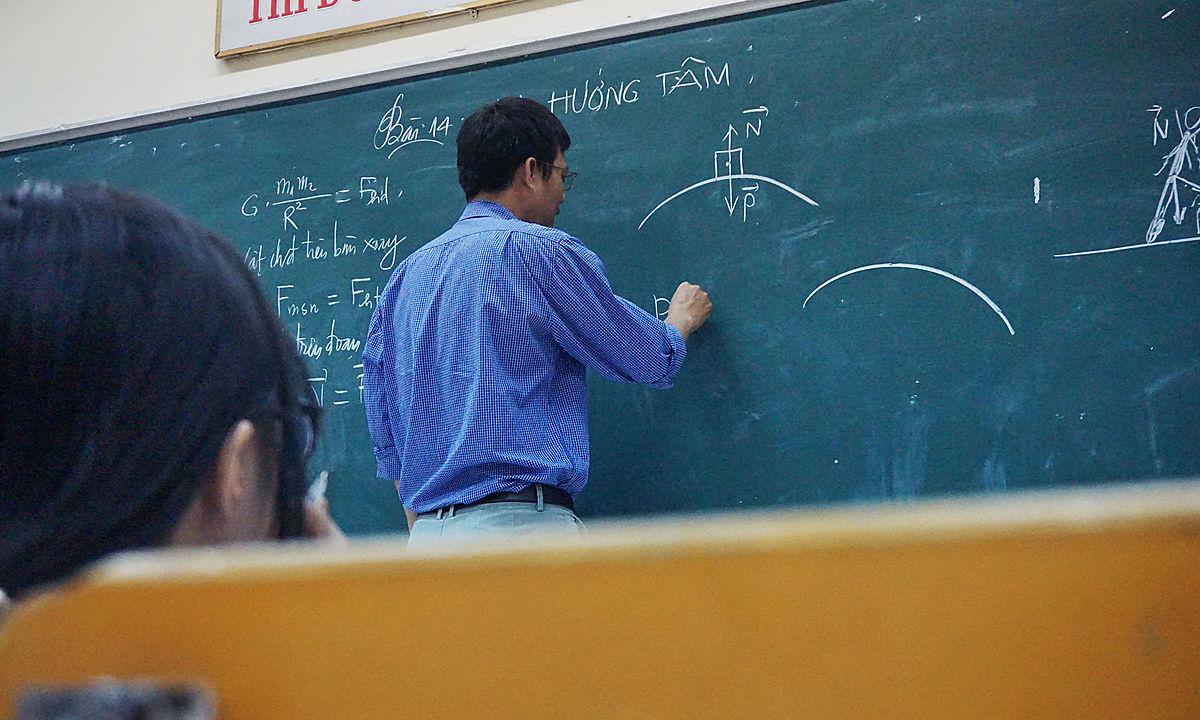 teacher, chalkboard